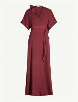 WHISTLES Nova devoré wrap midi dress
