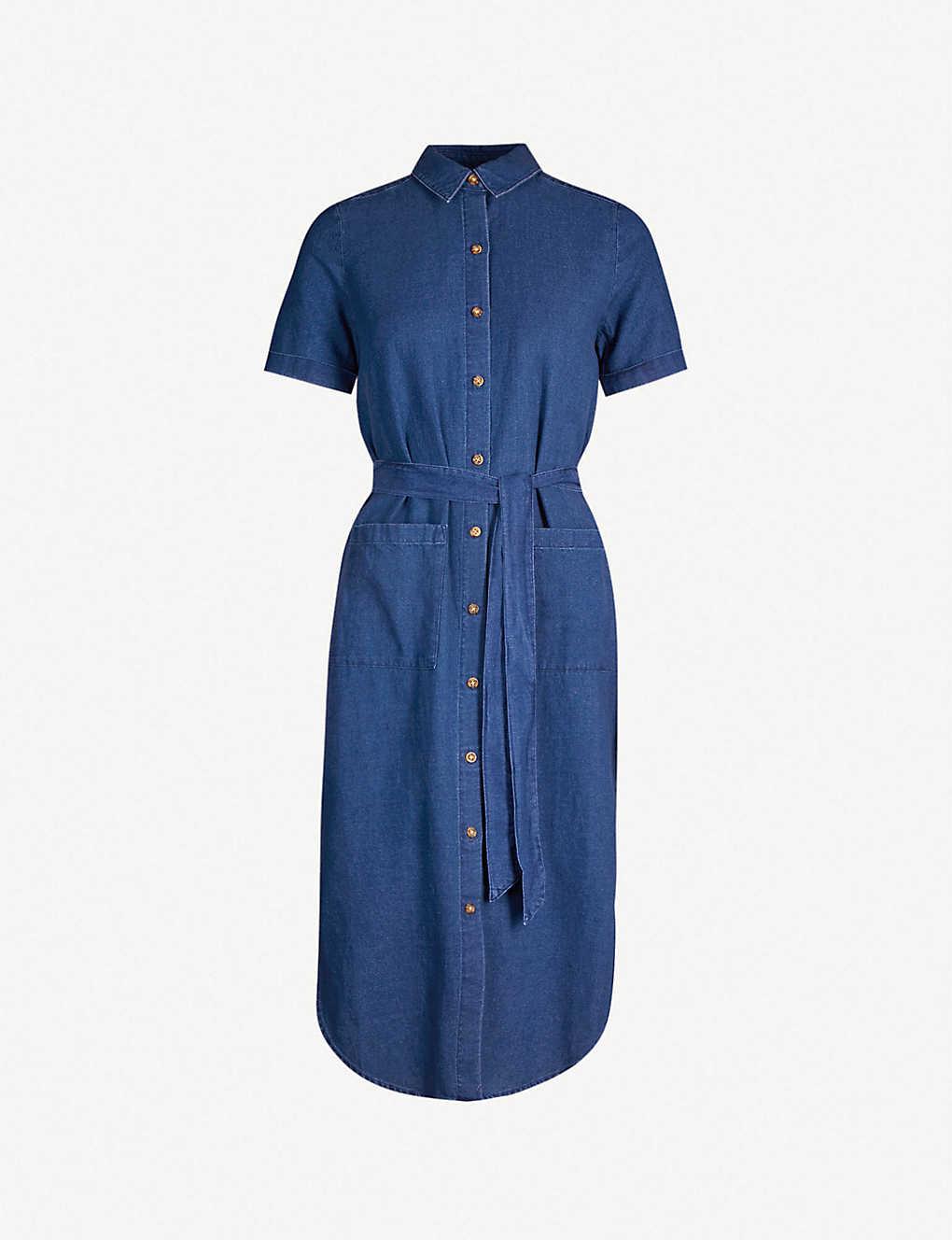 7732ca29ec WHISTLES - Waist-tie cotton and linen-blend dress