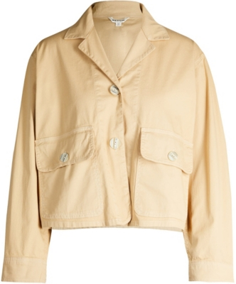 WHISTLES Cropped stretch-cotton jacket