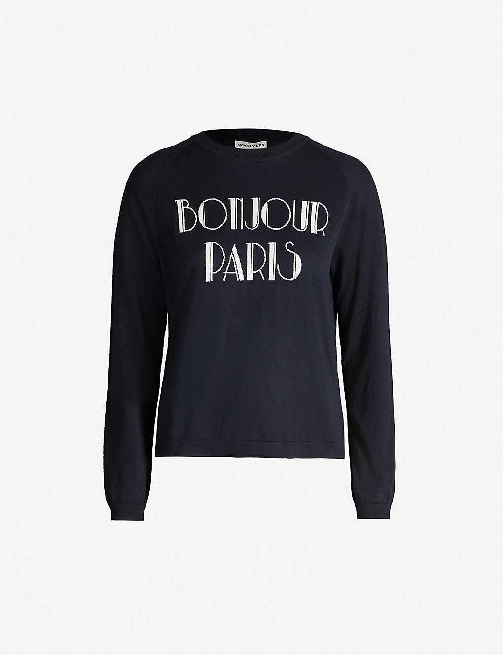 a5c5e1421b1dc WHISTLES - Bonjour Paris cotton knit jumper   Selfridges.com