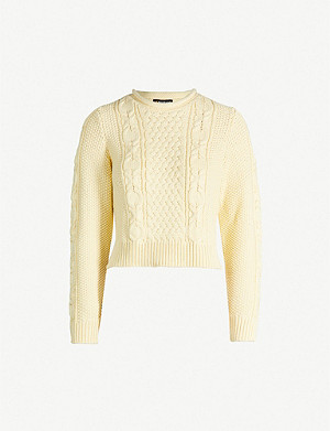 WHISTLES Chunky cable-knit cotton jumper