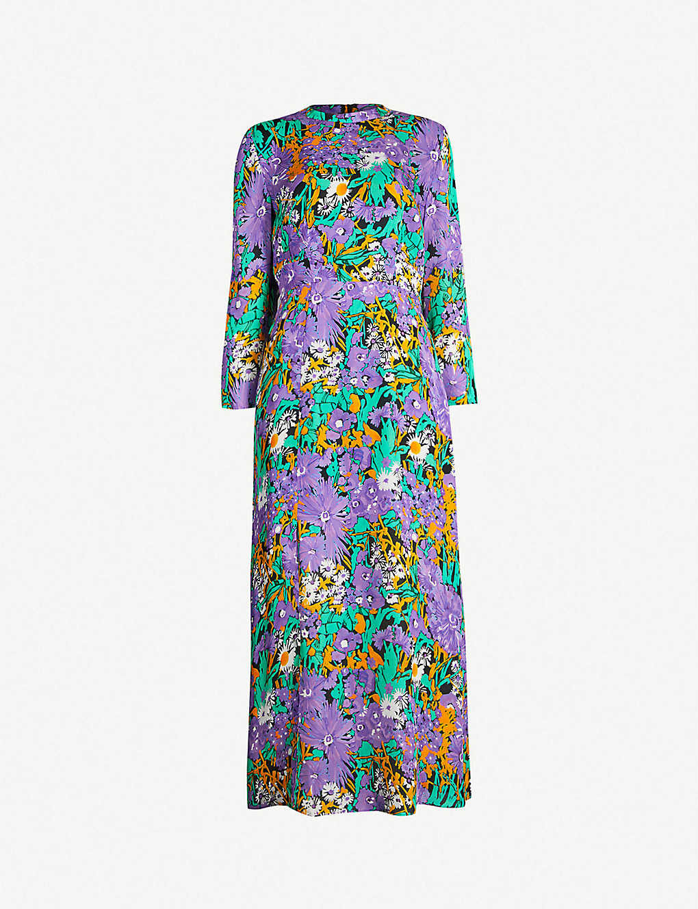 e2912333430 Floral-print silk midi dress - Multicoloured ...