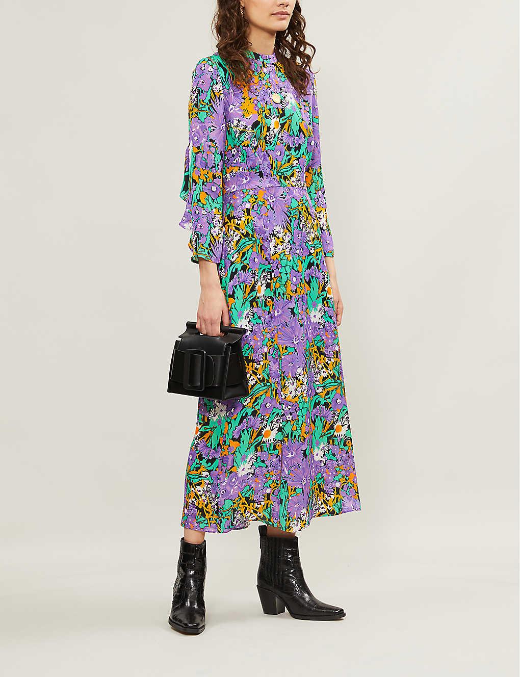 3b9cefa35b8 WHISTLES - Floral-print silk midi dress