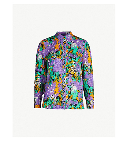 4cc40de6294 WHISTLES Simone floral-print silk-crepe shirt (Multi-coloured