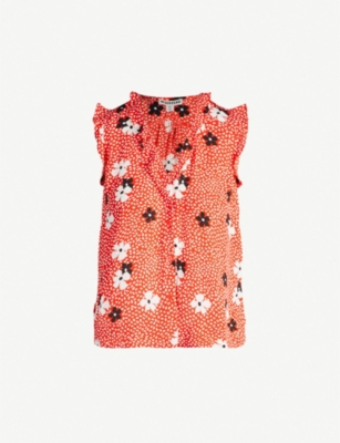 WHISTLES Floral-print sleeveless crepe shirt