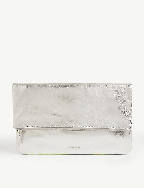 WHISTLES: Chapel metallic leather clutch bag