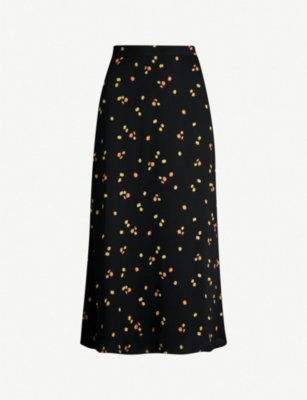 WHISTLES Floral-print longline crepe skirt