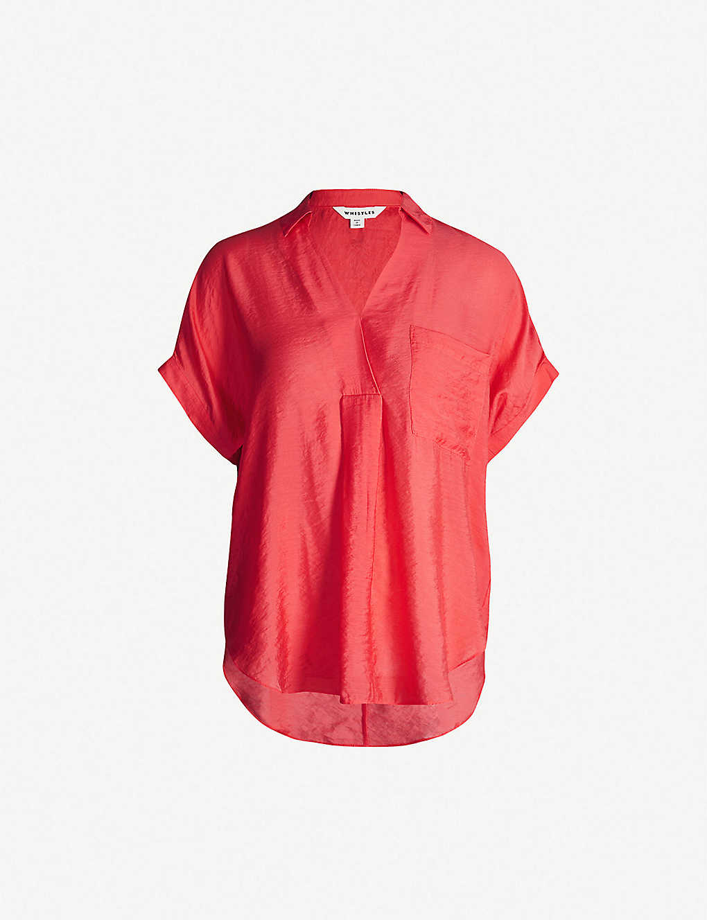 d15590b3f8d513 WHISTLES - Lea V-neck short-sleeved satin shirt | Selfridges.com
