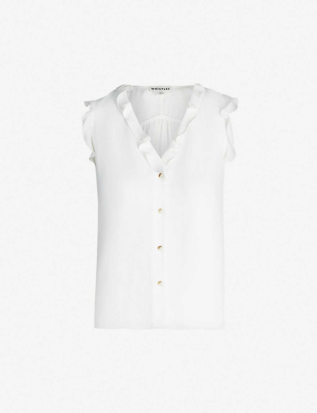 07002bac0 WHISTLES - Emily frill sleeveless crepe top | Selfridges.com