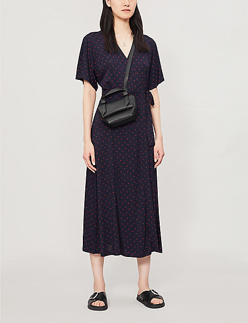 WHISTLES Dotted jersey wrap dress