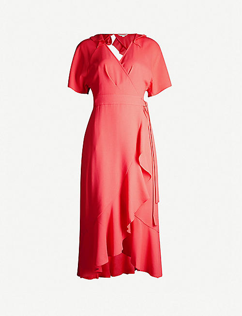 6feed65500d WHISTLES Abigail short-sleeved frill crepe wrap dress