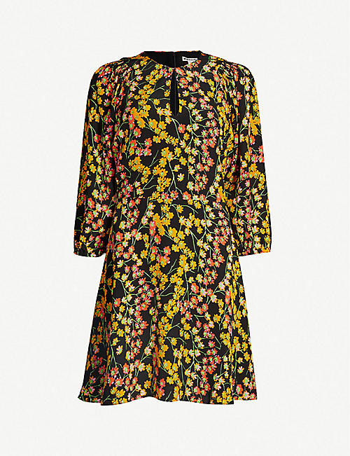 WHISTLES Ester daisy-print flared crepe dress