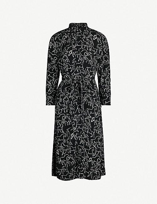 c06b7f80d76 WHISTLES Stallion print crepe shirt dress
