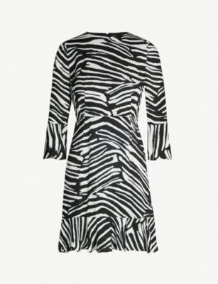 WHISTLES Zebra-print crepe dress