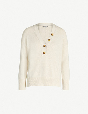 WHISTLES Contrast-button cotton-blend jumper