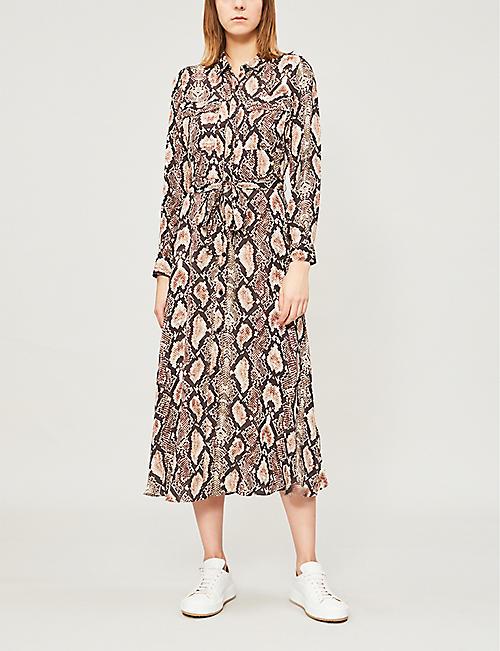 18e6273a6498 WHISTLES Elfrida snake-print shirt-dress