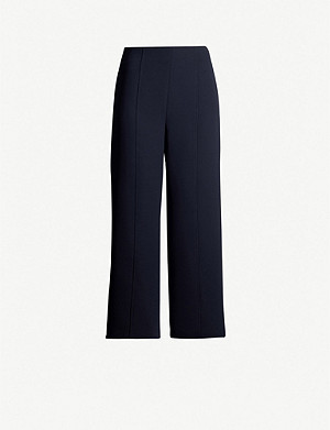 WHISTLES Wide high-rise crepe trousers