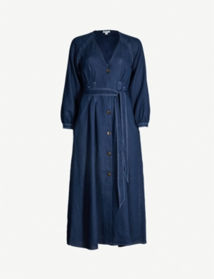 WHISTLES Tansey long-sleeved button-down linen dress
