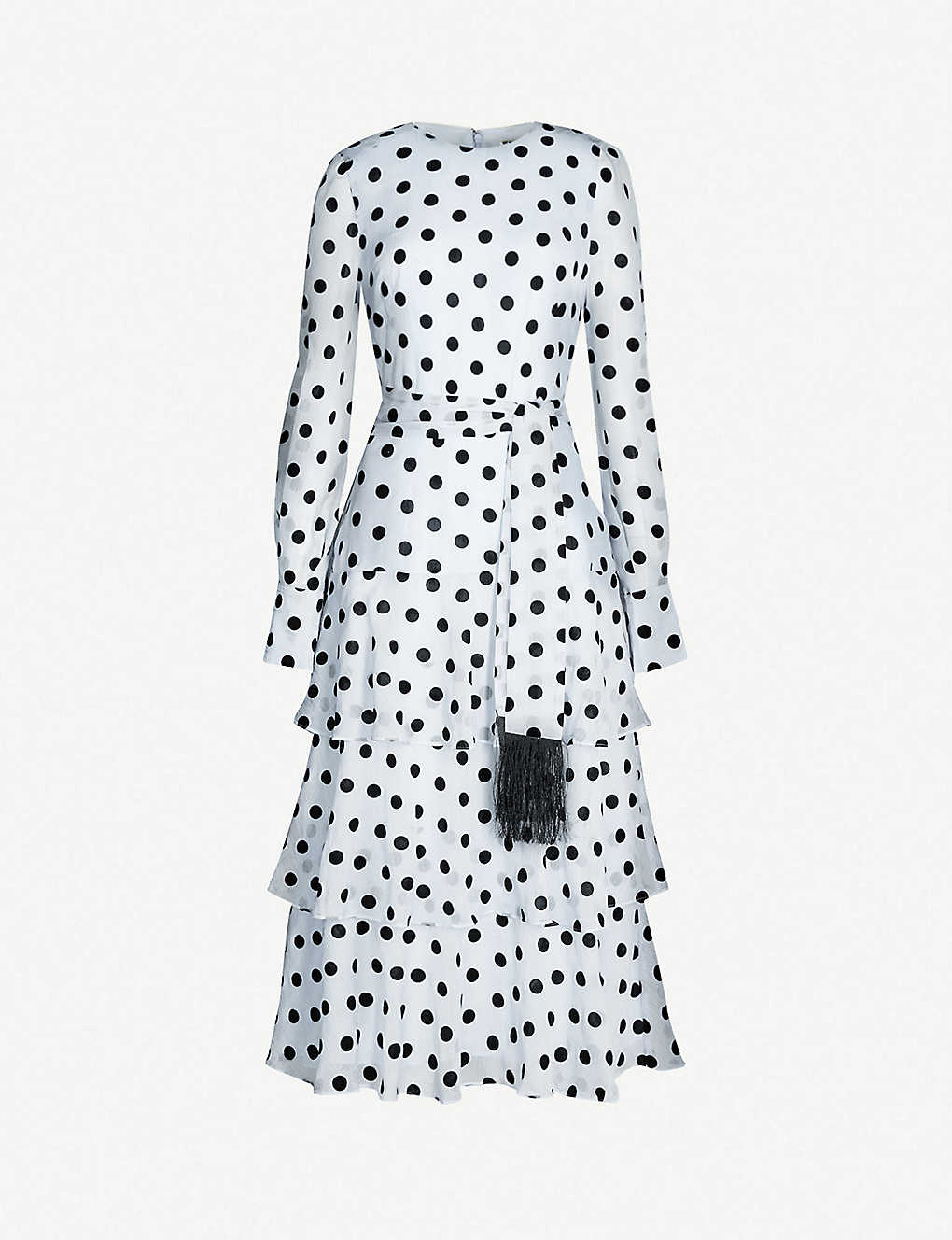 6a99256f20 WHISTLES - Alanza polka-dot tiered chiffon dress | Selfridges.com