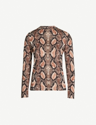 WHISTLES Snake-print jersey top