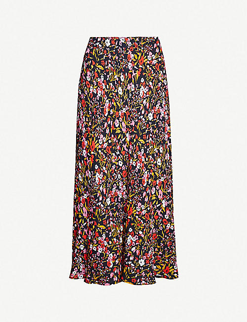 107d80c06de0 WHISTLES Floral-print high-rise crepe skirt