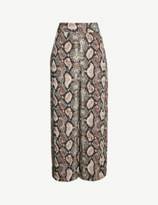 WHISTLES Snake print crepe trousers