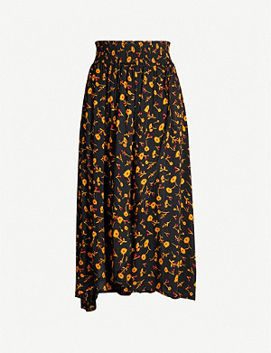 WHISTLES Aster floral wrap skirt