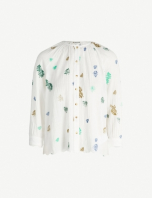 WHISTLES Cheeseplant leaf-embroidered cotton top