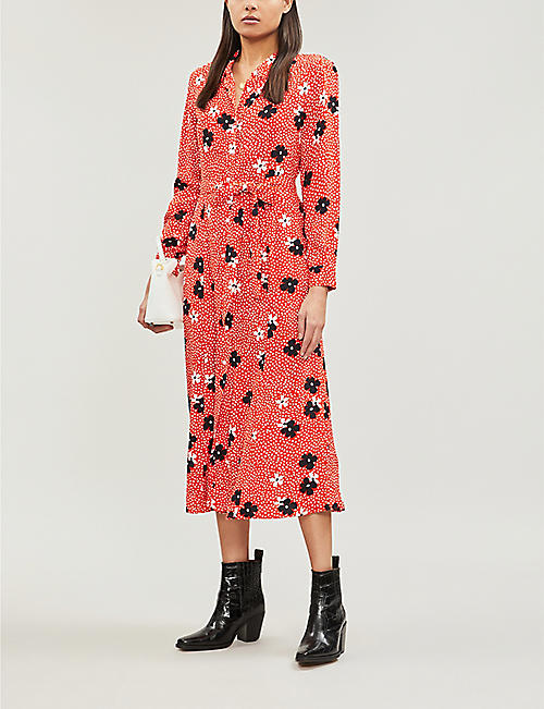 WHISTLES Confetti floral-print shirt dress