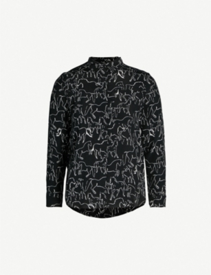 WHISTLES Stallion print crepe shirt