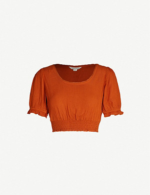 WHISTLES Scoop-neck puff-sleeved cropped crepe top