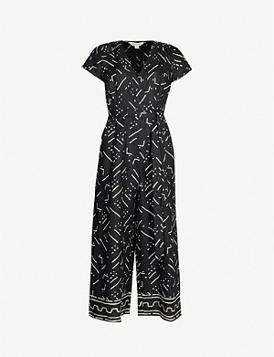 WHISTLES Kuba graphic-pattern wide cropped linen jumpsuit