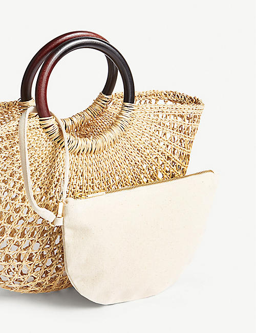WHISTLES Eldon wooden handle rattan tote