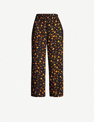 WHISTLES Aster floral-print wide-leg trousers