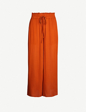 WHISTLES High-rise wide-leg cropped crepe trousers
