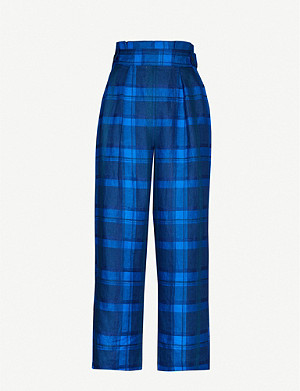 WHISTLES Checked cropped high-rise wide linen trousers