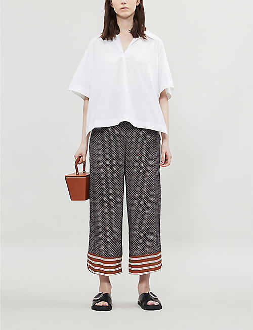 WHISTLES Foulard wide-leg cropped woven trousers