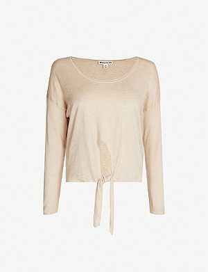 WHISTLES Scoop-neck relaxed-fit linen jumper