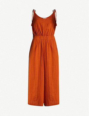 WHISTLES Mila tasselled-strap cotton jumpsuit