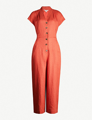 WHISTLES Sana linen button jumpsuit