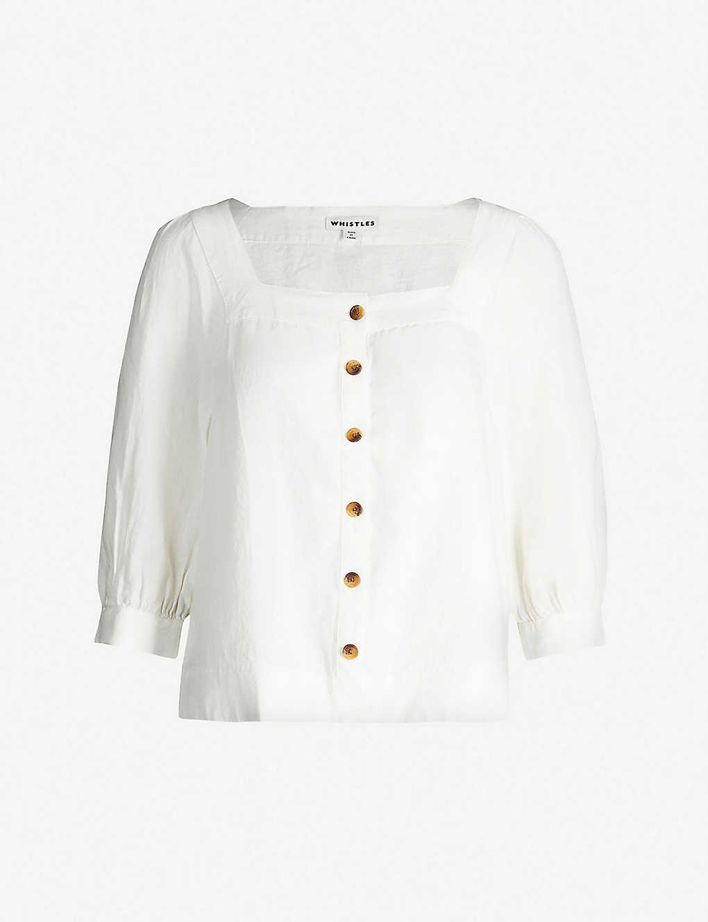 WHISTLES: Contrast-button square-neck linen blouse