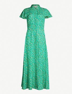WHISTLES Ditsy blossom-print poplin midi shirt dress
