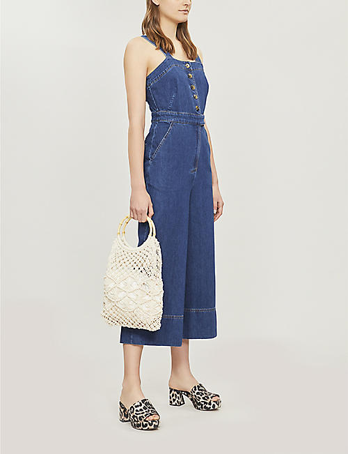 WHISTLES Tia buttoned denim jumpsuit