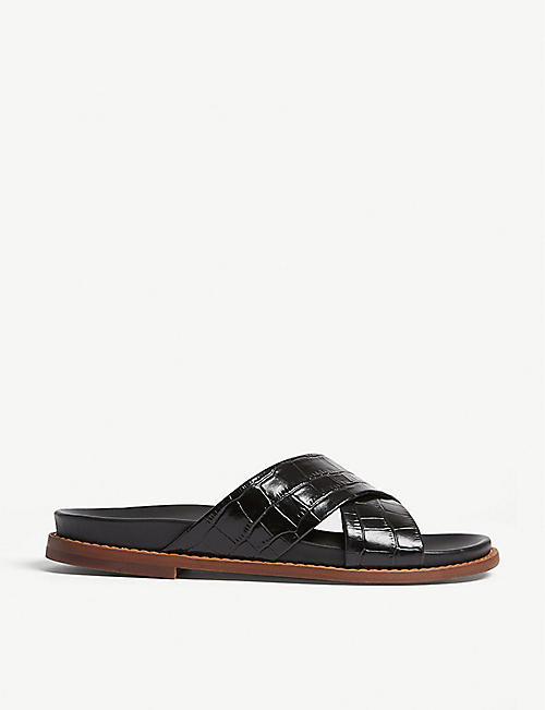 WHISTLES Hester croc-embossed leather sliders