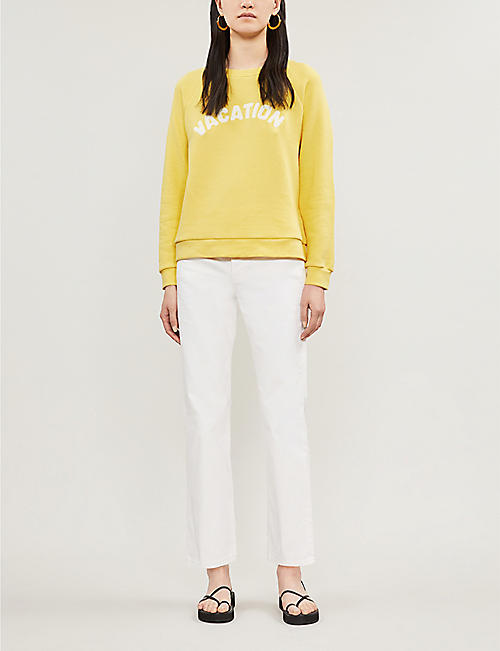 WHISTLES Vacation appliquéd cotton-jersey sweatshirt