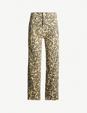 WHISTLES Leopard-print high-rise cropped jeans