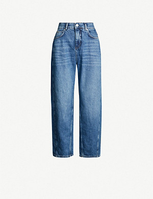 WHISTLES Faded straight leg high-rise jeans