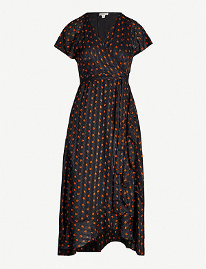 WHISTLES Ruffle-trimmed leaf-print woven wrap dress