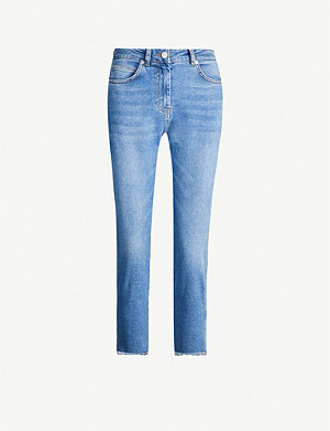 WHISTLES High-rise faded straight-leg jeans