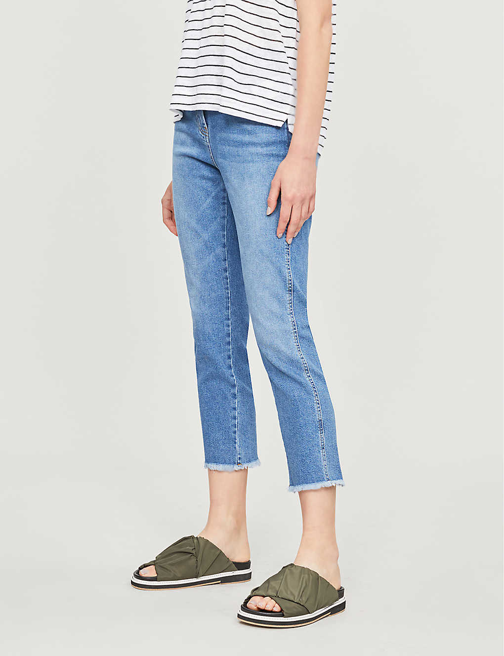 WHISTLES: High-rise faded straight-leg jeans